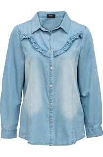 Denim Frill Long Sleeve Top
