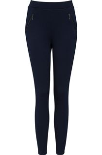 Textured Zip Detail Trousers - Midnight