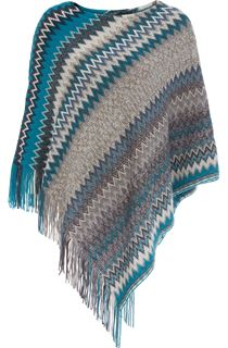 Knitted Chevron Design Poncho - Grey/Blue