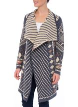 Open Front Decorative Knitted Cardigan
