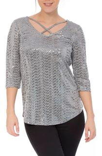 Spangle Jersey Cross Front Top