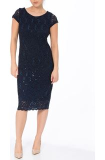 Fitted Lace And Sequin Shift Dress