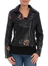 Embroidered Faux Leather Biker Jacket