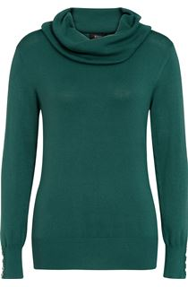 Cowl Neck Knit Top - Green