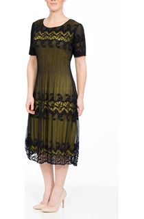 Contrast Short Sleeve Lace Midi Dress - Navy/Lime