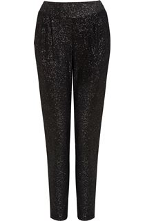 Tapered Pull On Sparkle Trousers - Black/Silver
