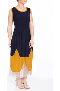 Sleeveless Pleated Colour Block Maxi Dress