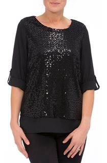 Anna Rose Sequin Layer Chiffon Top