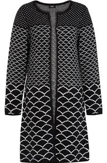 Long Open Monochrome Knitted Cardigan