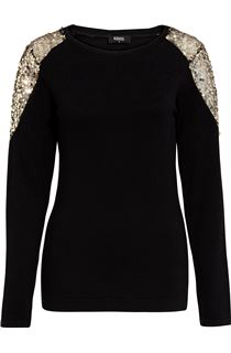 Sequin Trimmed Long Sleeve Knit Top