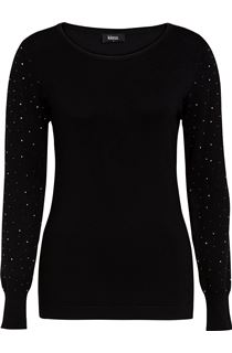Long Embellished Sleeve Knitted Top