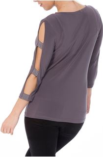 Embellished Three Quarter Ladder Sleeve Jersey Top - Grey