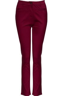 Faux Leather Trim Slim Leg Jeans - Claret