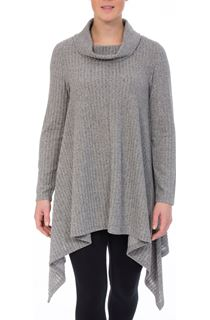Cowl Neck Draped Hem Knit Top