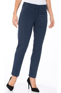 Narrow Leg Stretch Trousers - Navy