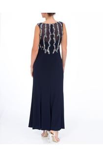Embellished Sleeveless Maxi Dress - Midnight/Silver