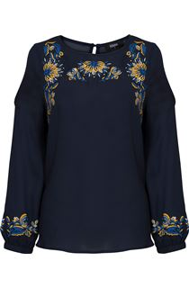 Embroidered Cold Shoulder Chiffon Top
