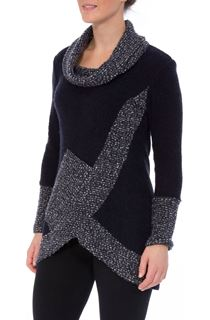 Textured Knitted Cowl Neck Tunic - Midnight/Grey