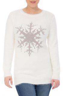 Long Sleeve Eyelash Knit Snowflake Top