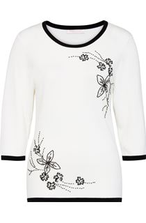 Anna Rose Floral Bead Knit Top