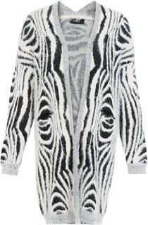 Animal Print Eyelash Knit Open Cardigan