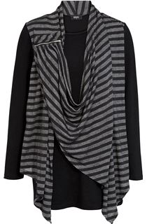 Striped Drape Long Sleeve Jersey Top