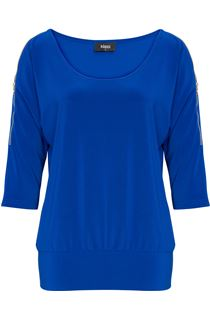 Zip Cold Shoulder Stretch Top