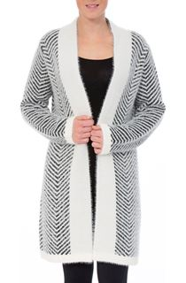Long Chevron Eyelash Knit Cardigan