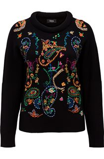 Embroidered Knitted long Sleeve Top