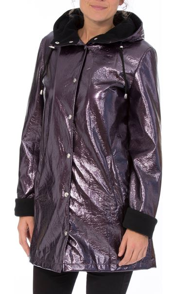 Metallic Hooded Coat