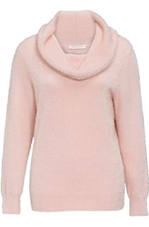 Anna Rose Cowl Neck Feather Knit Top - Pale Pink