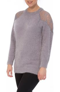 Lace Trim Eyelash Knit Top - Grey