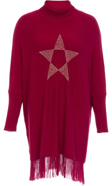 Embellished Sleeved Knitted Cape Top