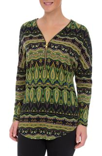 Printed Brushed Knit Long Sleeve Tunic