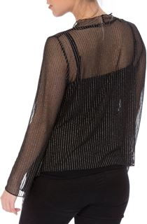 Anna Rose Long Sleeve Sparkle Stripe Mesh Cover Up