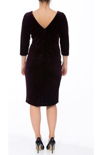 Sparkle Velour Fitted Midi Dress