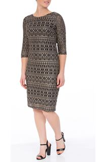 Fitted Three Quarter Sleeve Lace Midi Dress