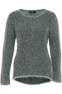 Patterned Eyelash Knit Top - Black/Green/Grey