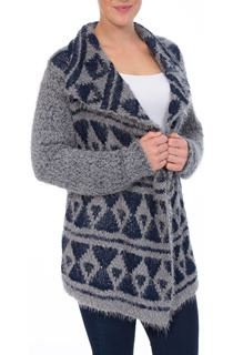 Patterned Open Front Knit Cardigan - Navy/Grey