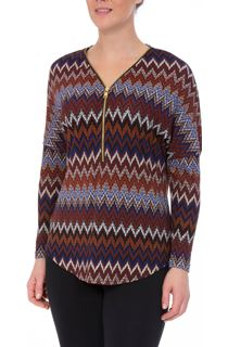 Long Sleeve Zigzag Print Zip Top