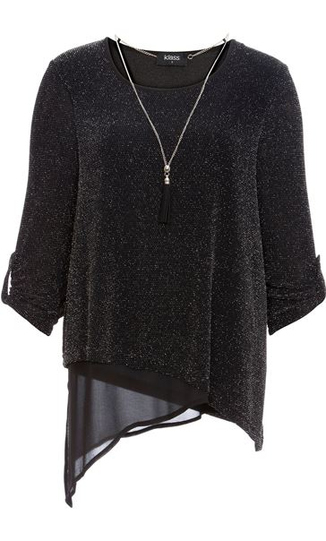 Anna Rose Asymmetric Sparkle Top With Necklace