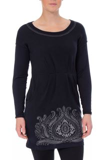 Embroidered Boat Neck Knit Tunic