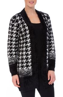 Eyelash Knit Hounds Tooth Open Cardigan