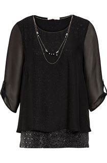 Anna Rose Jersey And Chiffon Layer Necklace Top