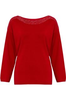 Long Sleeve Embellished Neck Knit Top