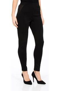 Fitted Ponte Trousers With Faux Leather Trim