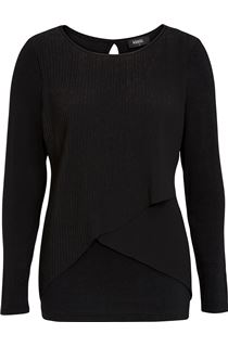 Pleated Georgette And Jersey Long Sleeve Top
