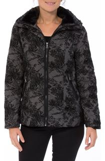 Zip Fastening Flock Coat - Charcoal