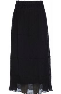 Pleated Lace Trim Georgette Maxi Skirt