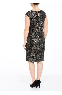 Cap Sleeve Sequin Fitted Midi Dress